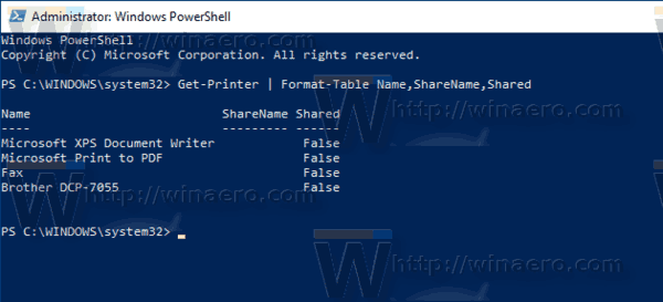 Windows 10 Printer List Powershell