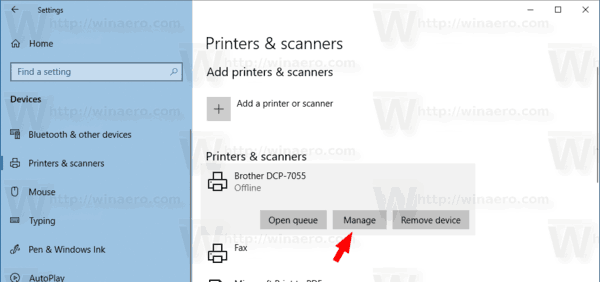 Windows 10 Printer Manage Button