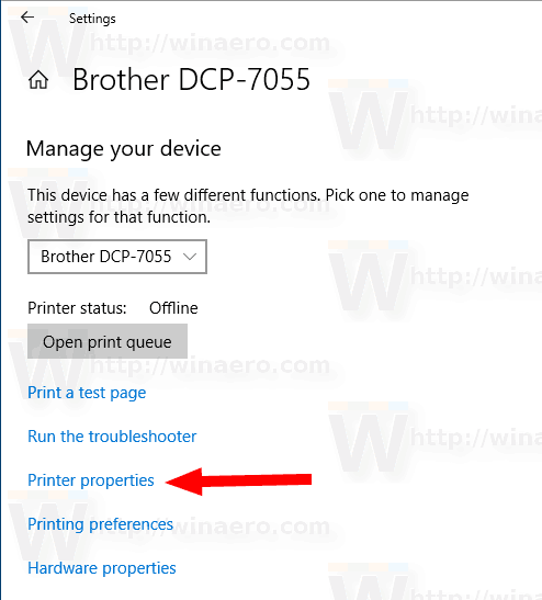 Windows 10 Printer Properties Link