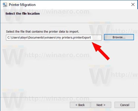 Windows 10 Restore Printers Browse For File