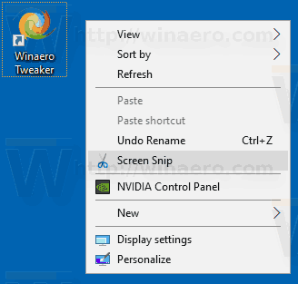 Windows 10 Screen Snip Context Menu