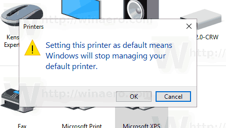 Windows 10 Set Default Printer Control Panel Confirmation