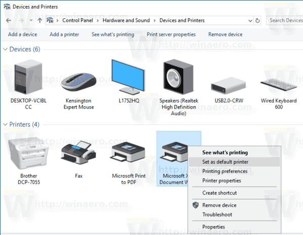 windows 10 make printer default