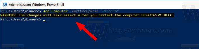 Windows 10 Change Workgroup Name Powershell