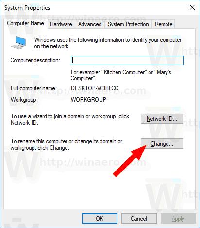 Windows 10 Change Workgroup Name