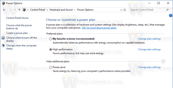 Windows 10 Power Plan After