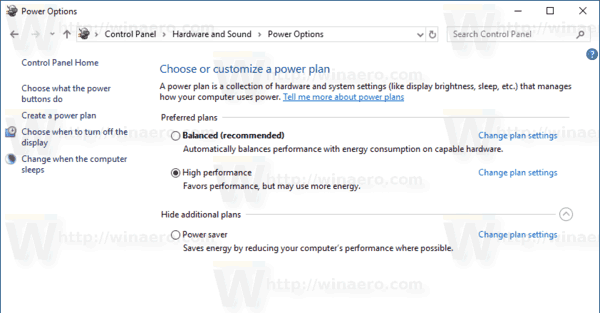 Windows 10 Power Plan Before