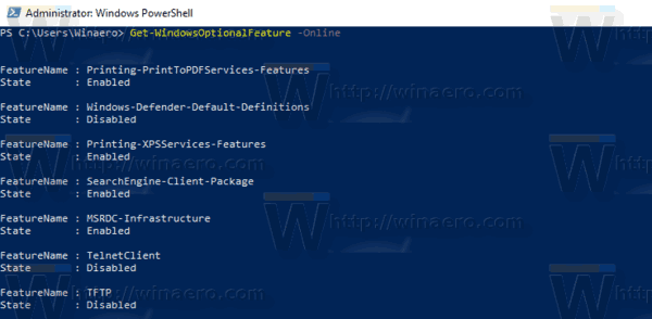 Windows 10 Powershell List Optional Features
