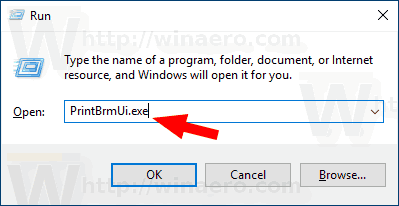Windows 10 Run PrintBrmUi