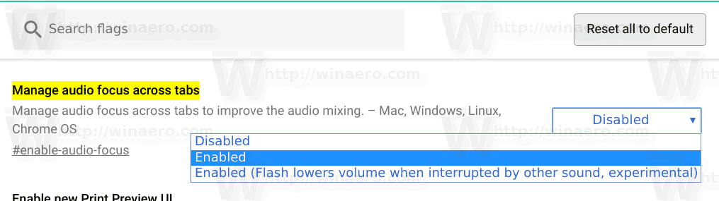 Chrome Enable Manage Audio Tab Focus