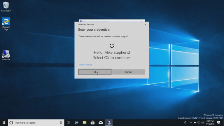 Mstsc Windows Hello 17713