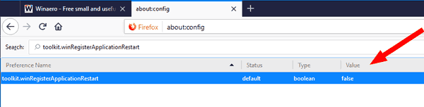 Disable Automatically Reopen Firefox After Windows Restart