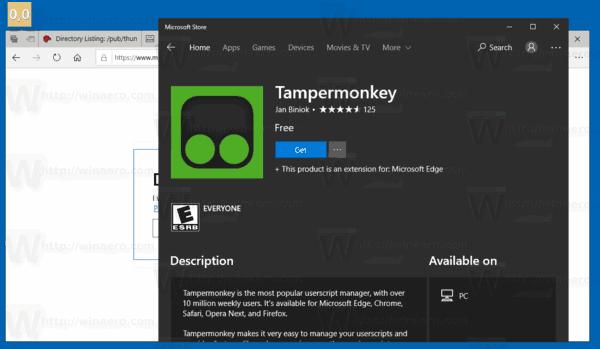 Edge Install Tampermonkey