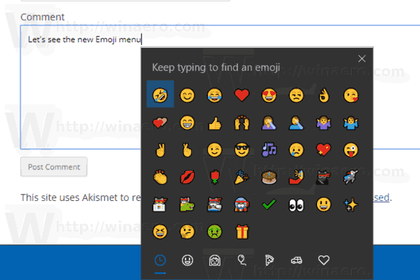 Google Chrome Emoji Picker