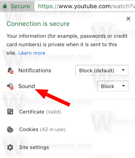 Google Chrome Mute Site Flyout