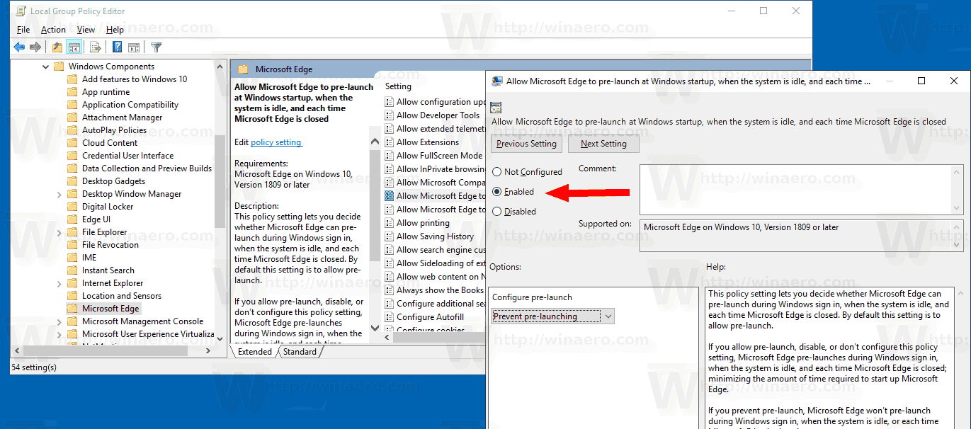 Disable Microsoft Edge Pre-launching in Windows 10