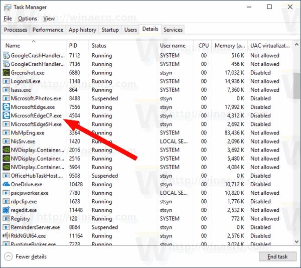 Microsoft Edge Preloader Process