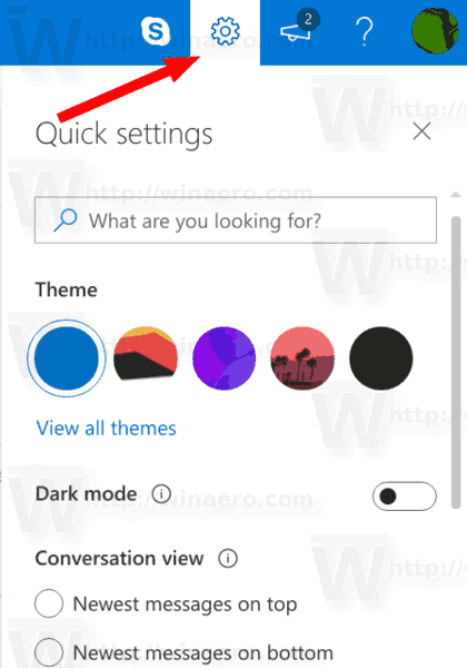 Outlook Com Quick Settings Icon