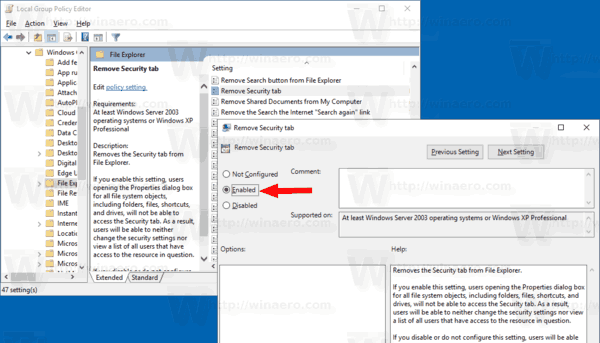 Remove Security Tab Group Policy