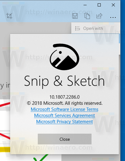 Snip And Sketch Windows 10 About