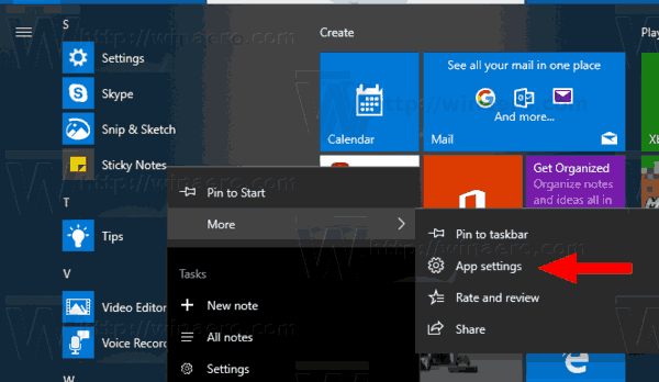 Sticky Notes Settings Start Menu