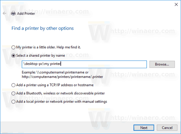 Windows 10 Add Shared Printer By Name