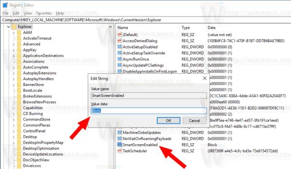 Windows 10 Change SmartScreen Options Tweak