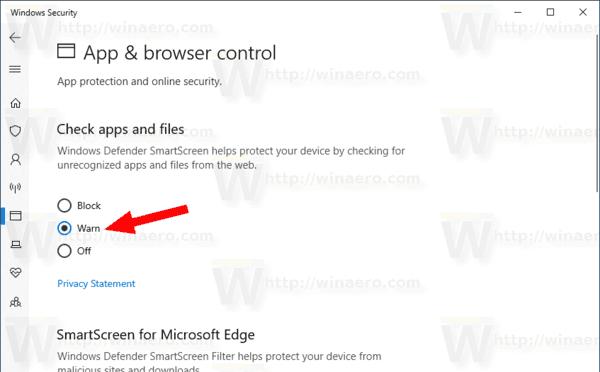 Windows 10 Change SmartScreen Options