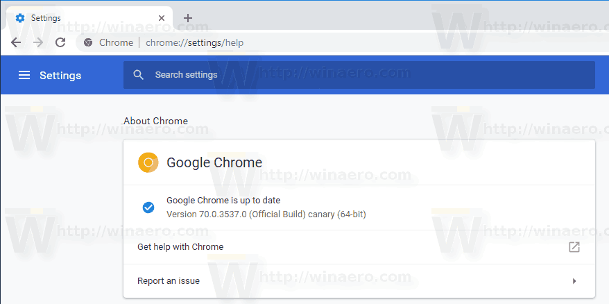 Windows 10 Chrome Canary