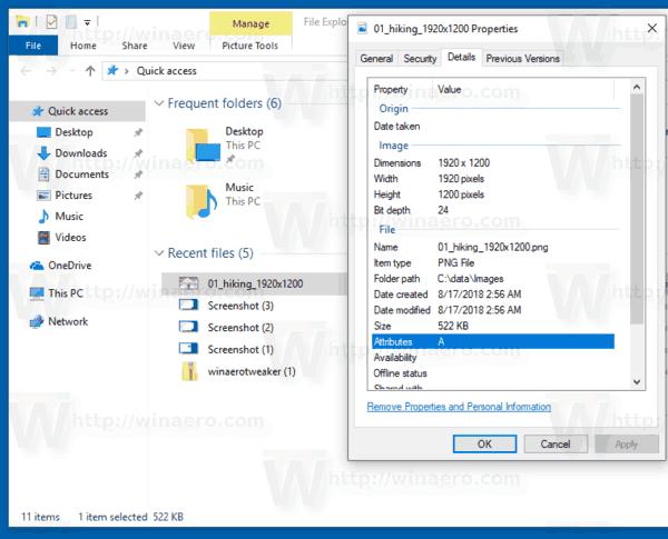 Windows 10 Details Tab