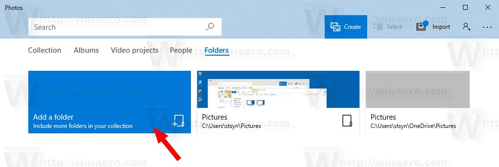 Windows 10 Photos Add Folder Folders Tab