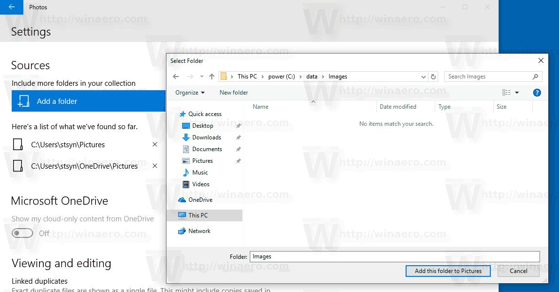Windows 10 Photos Add Folder