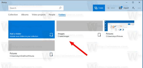Windows 10 Photos Added Folder