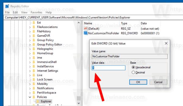 Windows 10 Remove Customize Tab Policy