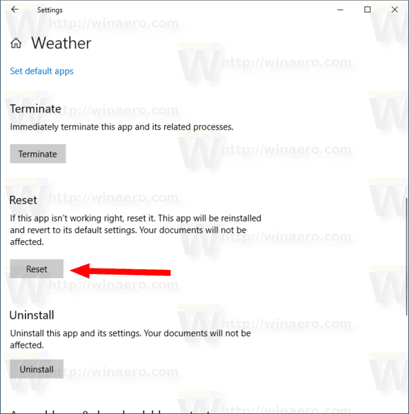 Windows 10 Reset Weather App