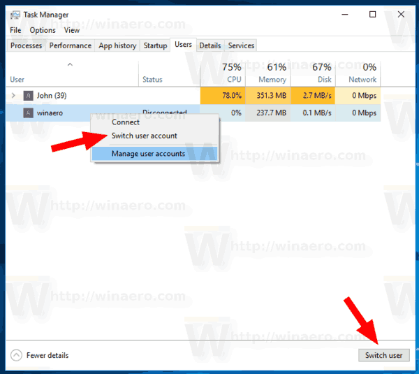 Windows 10 Task Manager Switch User