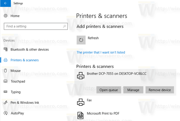 Windows 10 Printer Installed 2
