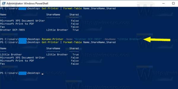 Windows 10 Rename Printer Powershell