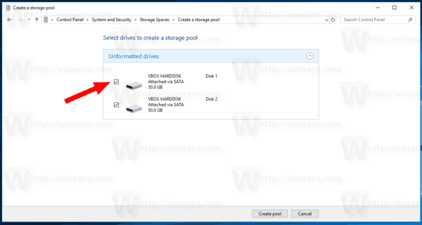 Create New Pool In Storage Spaces In Windows 10