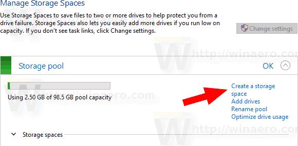 Create New Storage Space In Windows 10