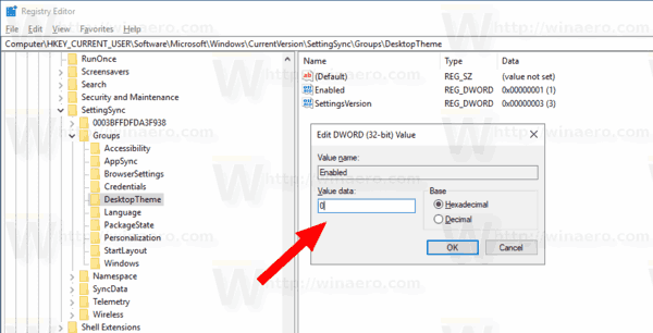 Disable Individual Sync Settings In Registry