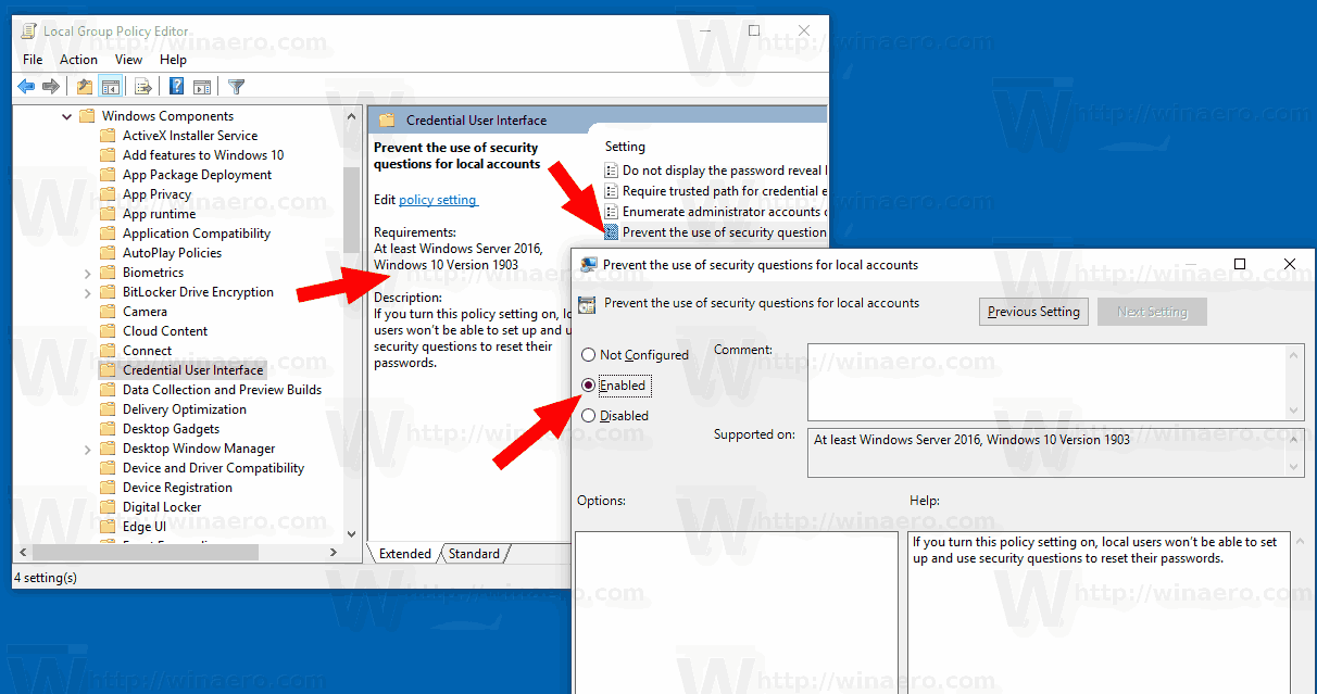 Disable Security Questions Group Policy Windows 10