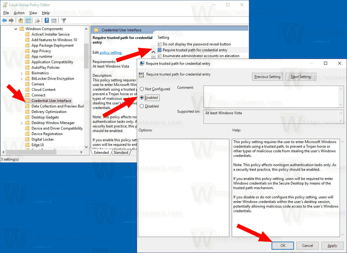 Enable CAD Prompt For UAC Windows 10 GP