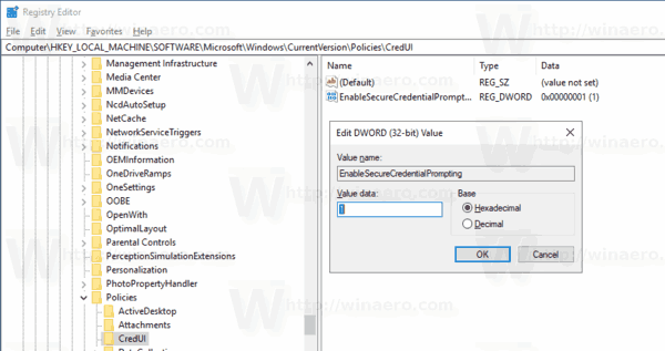 Enable CAD Prompt For UAC Windows 10 Tweak