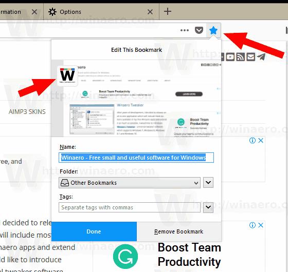 Firefox 62 New Bookmark Dialog
