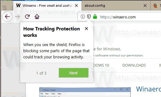 Firefox 62 Tracking Protection Enabled Shield Icon