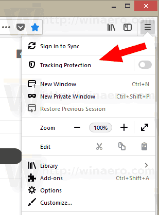 Firefox 62 Tracking Protection Option In Menu