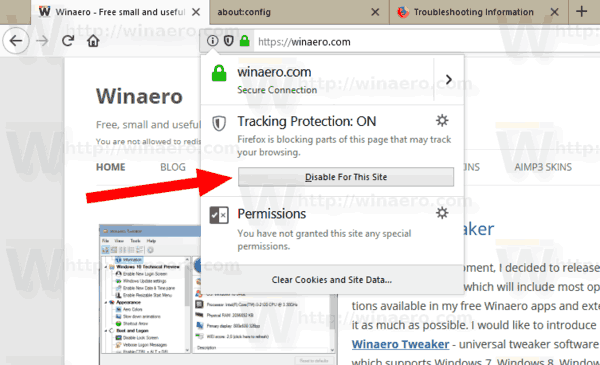 Firefox 62 Tracking Protection Whitelist Web Site