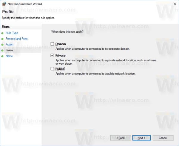 Firewall Rule Select Firewall Profiles