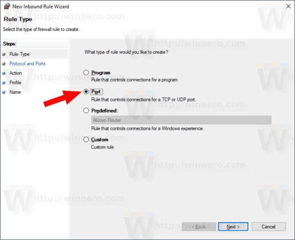 Open Port in Windows Firewall in Windows 10